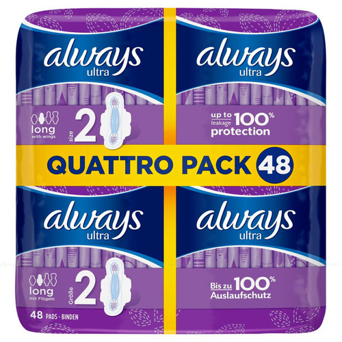 Always Ultra Long Size 2 Sanitary Towels with Wings Absorbent - Pack of 48 Pads