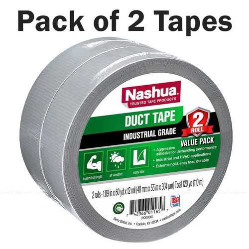 Pack of 2 Nashua Duct Tape Industrial Grade Silver HVAC Extreme Hold 48mm x 55mm