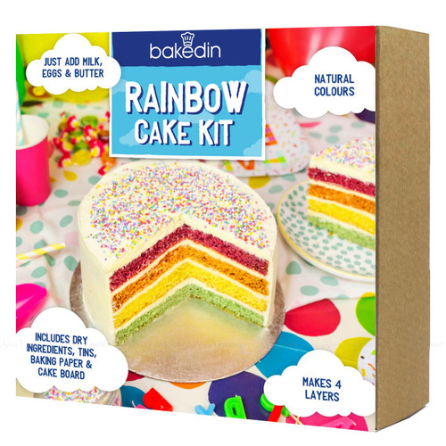 Bakedin Rainbow Cake Baking Kit Recipe 4 Layer Colour Sprinkles Set Pack 960g