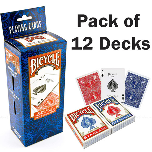 Bicycle Playing Cards Air Cushioned Poker Magic Block Red Blue Pack of 12 Decks