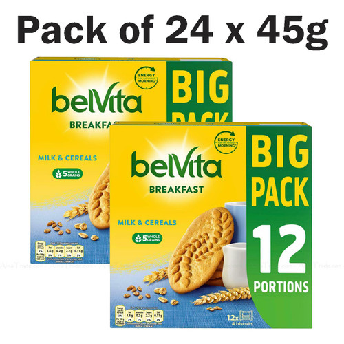 BelVita Breakfast Milk & Cereals Wholegrain Biscuits Bars - Pack of 2 x 12 x 45g