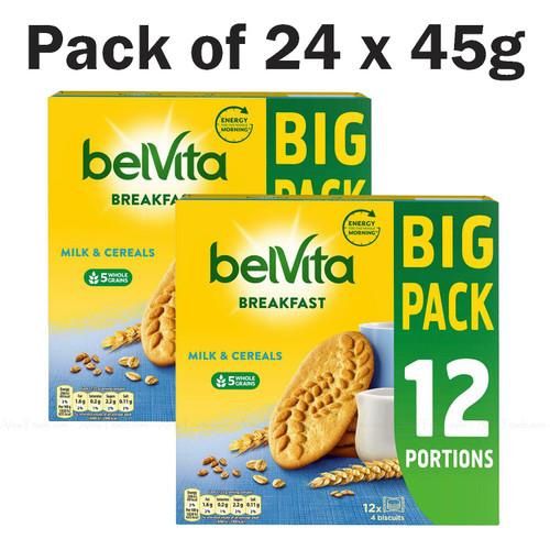 BelVita Breakfast Milk & Cereals Wholegrain Biscuits Bars - Pack of 2 x 12 x 45g