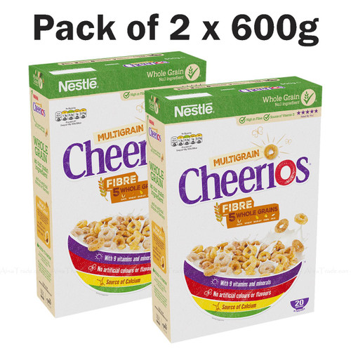 Nestle Cheerios Breakfast Multigrain Cereal Fibre Whole Grains Pack of 2 x 600g