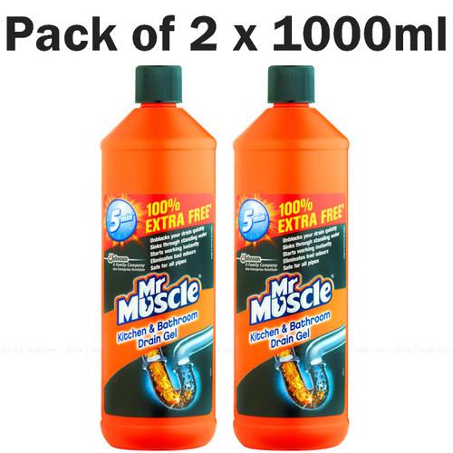Mr Muscle Kitchen Bathroom Drain Gel Sink Clog Plumber Remover -Pack of 2 x 1ltr