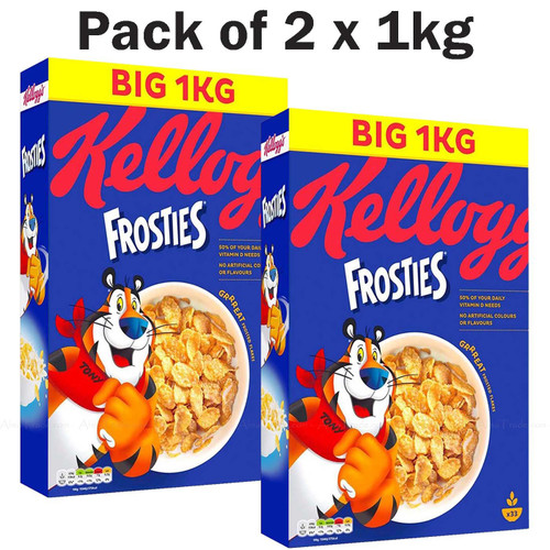 Kellogg's Frosties Breakfast Cereal Crunchy Frosted Corn Flakes Pack of 2 x 1kg