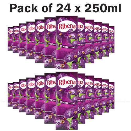 Ribena Blackcurrant Juice Kid Party Vitamin C Flavour Fruit Carton Pack 24x250ml