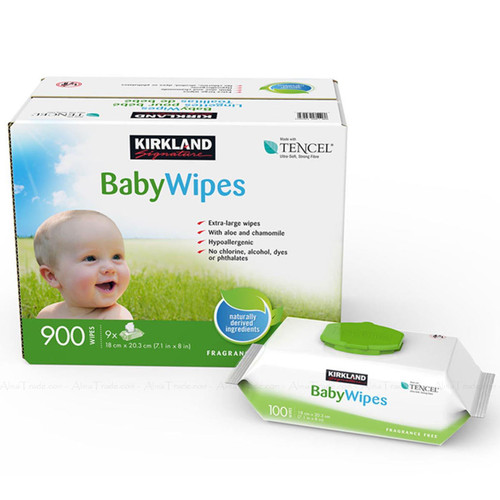 Kirkland Signature Extra Large Tencel Baby Wipe 9 Packets - Pack Total 900 Pcs