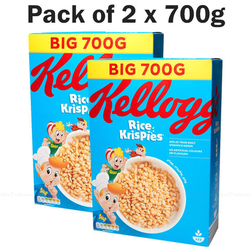 Kellogg's Rice Krispies Breakfast Toasted Grain Rice Cereal - Pack of 2 x 700g