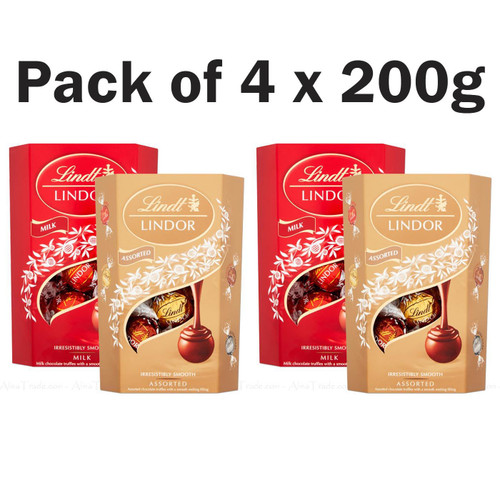 Lindt Lindor Milk & Assorted Chocolate Balls Truffles Xmas Gift Pack of 4 x 200g