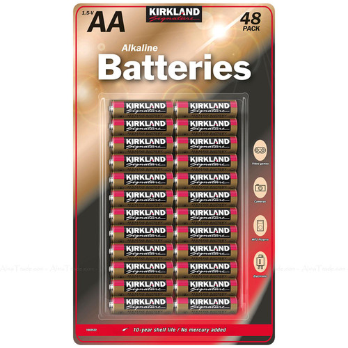 Kirkland Signature Alkaline Piles Long Life Lasting 1.5v AA - Pack of 48 Battery