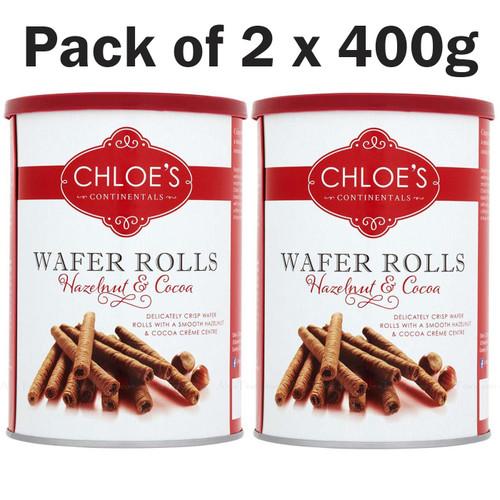 Wafer Rolls Chloe's Hazelnut & Cocoa Chocolate Crisp Smooth Crème Packs 2 x 400g