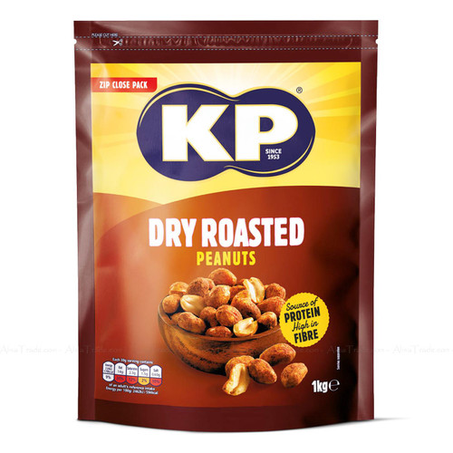 KP Dry Roasted Peanuts Nuts Large Party Snack Zip Close Packet Bag Pack 1Kg