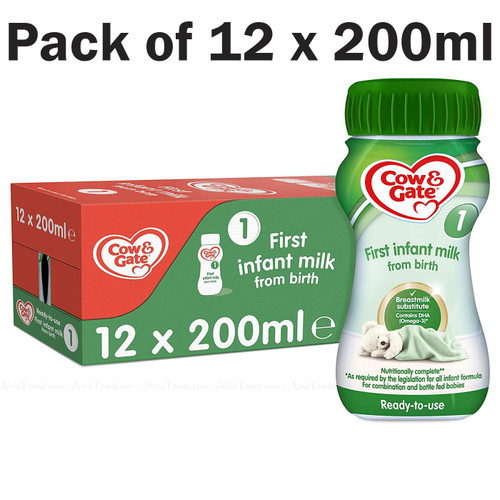 Cow & Gate First Infant Milk Stage1 Ready Made Baby Formula - Pack of 12 x 200ml