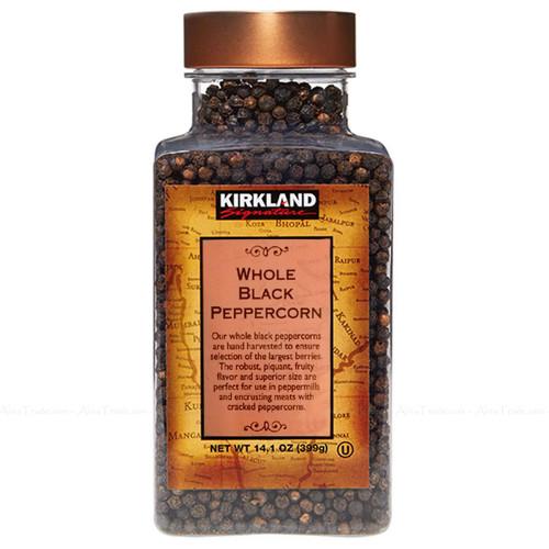 Kirkland Signature Spice Seasoning Food Whole Black Pepper Peppercorn Jar 399g