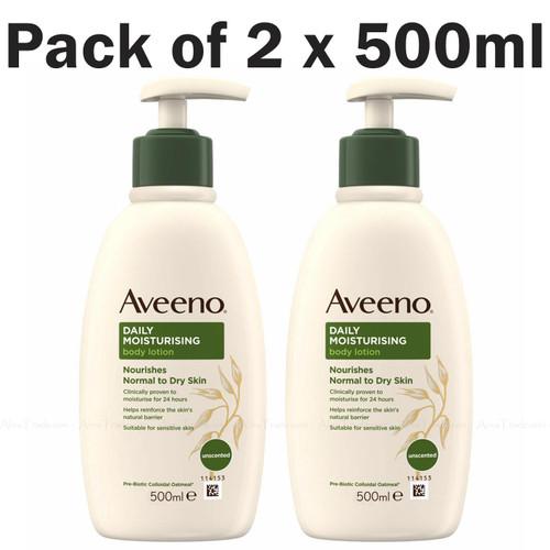Aveeno Daily Moisturising Lotion Body Wash Sensitive Eczema Skin Pack of 2x500ml