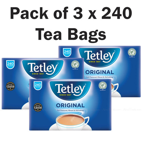 Tetley Original Rich Fresh Natural Drink Classic Black Tea Bags -Pack of 3 x 240