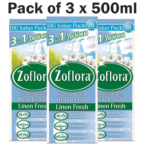 Zoflora Concentrated Disinfectant All Day Freshness Linen Fresh Pack 3 x 500ml