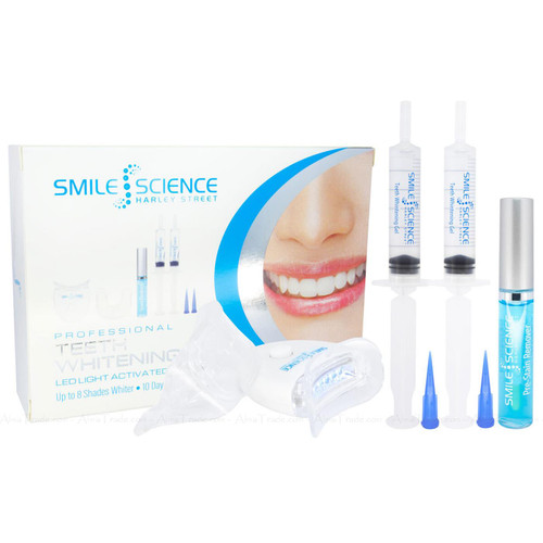 Smile Science Professional Teeth Whitening Kit Stain Remover Swab Shade LED Pack