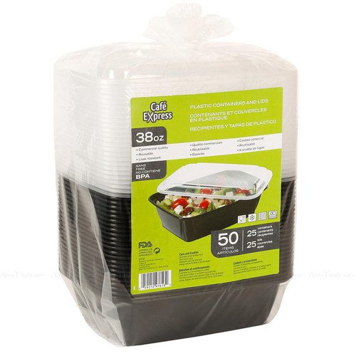 Cafe Express 38oz Black Plastic Salad Food Multi-use Containers+Lids Pack of 50