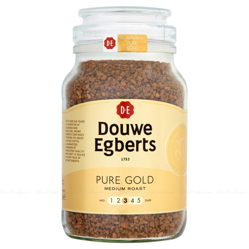 Douwe Egberts Pure Gold Medium Roast Ground Instant Coffee Granules Jar 400g