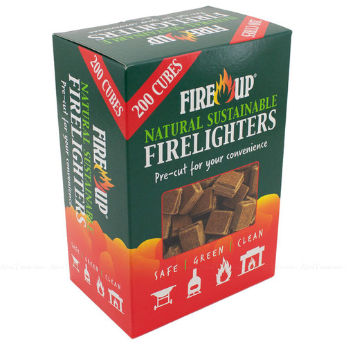 Fire Up Natural Sustainable Firelighters Pre-Cut BBQ Safe Lighter Pack 200 Pcs