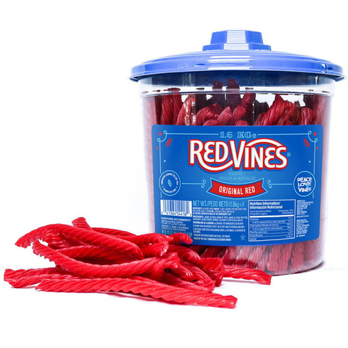 Red Vines Original Twists Soft Chewy Cane Sugar Sweet Candy Treat Tub Pack 1.6kg