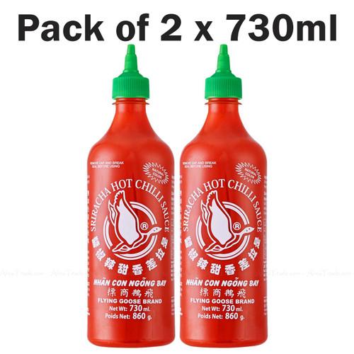 Flying Goose Brand Sriracha Hot Chilli Sauce Flavour Spicy Taste Pack 2 x 730ml