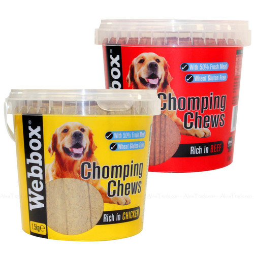 Webbox Meaty Chomping Chews for Dogs Natural Treat Rich Beef Chicken Pack 1.5kg