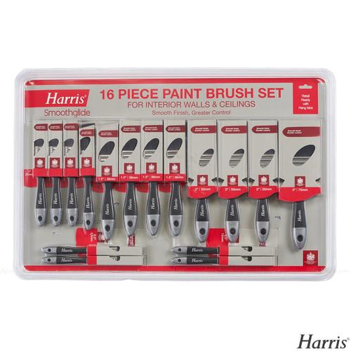 Harris Smoothglide Quality Painting Brush Decorating Set Pack 16 Paint Brushes