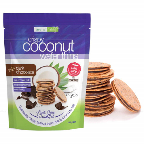 Tropical Fields Coconut Wafer Thins with Dark Chocolate Light Crisp Pack 397g