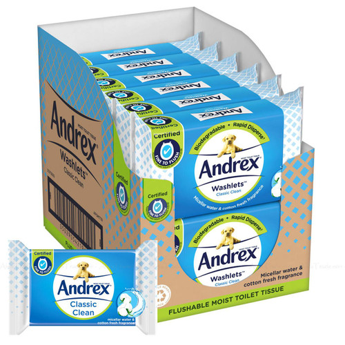 Andrex Classic Clean Washlets Moist Toilet Tissue Fresh - Pack of 12 x 40 Wipes