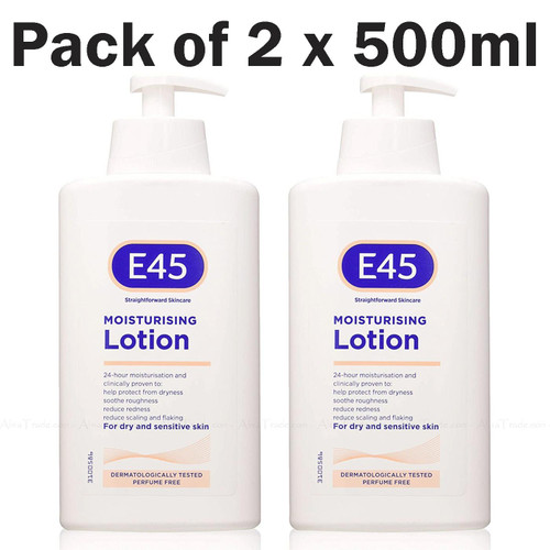 E45 Dermatological Moisturising Lotion Sensitive Skin Care Twin Pack of 2x 500ml