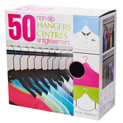 Standby Flocked Non Slip Space Saving Clothes Hangers Closet Organise Pack of 50