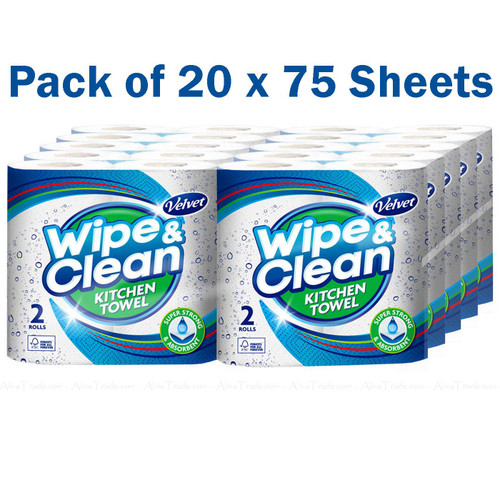Velvet Wipe and Clean Kitchen Towel Thick Absorbent 75 Sheets - Pack of 20 Rolls