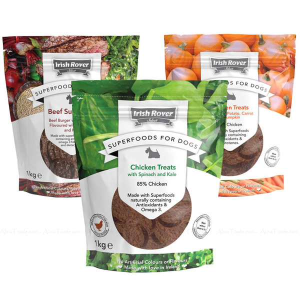 Irish Rover Superfoods for Dogs Naturally Tasty Chicken Beef Treats Mix Pack 1kg