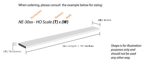 "NE - 3001 - HO Scale 1"" x 2"""