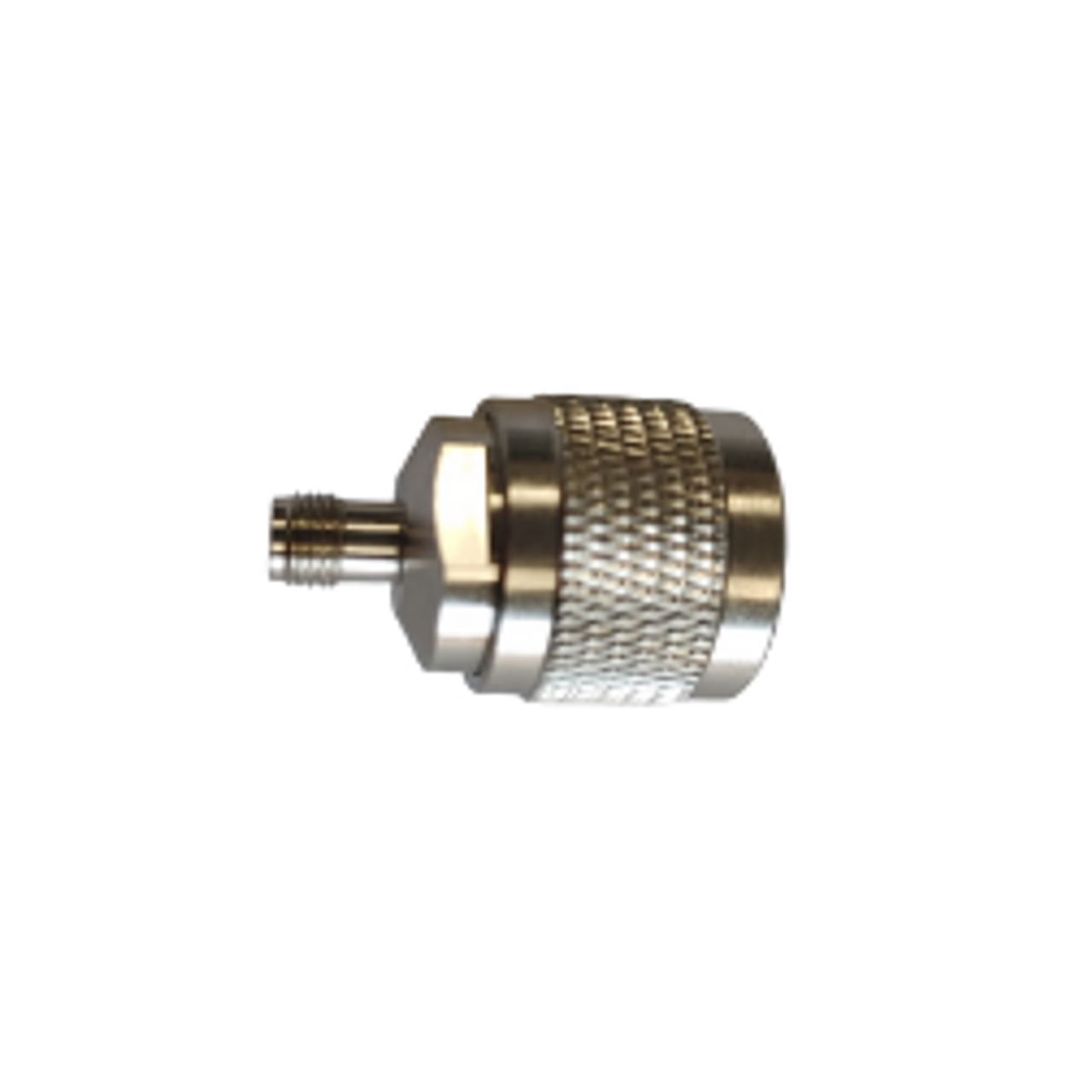 Bolton Barrel Connector - N-Male to SMA-Female side view