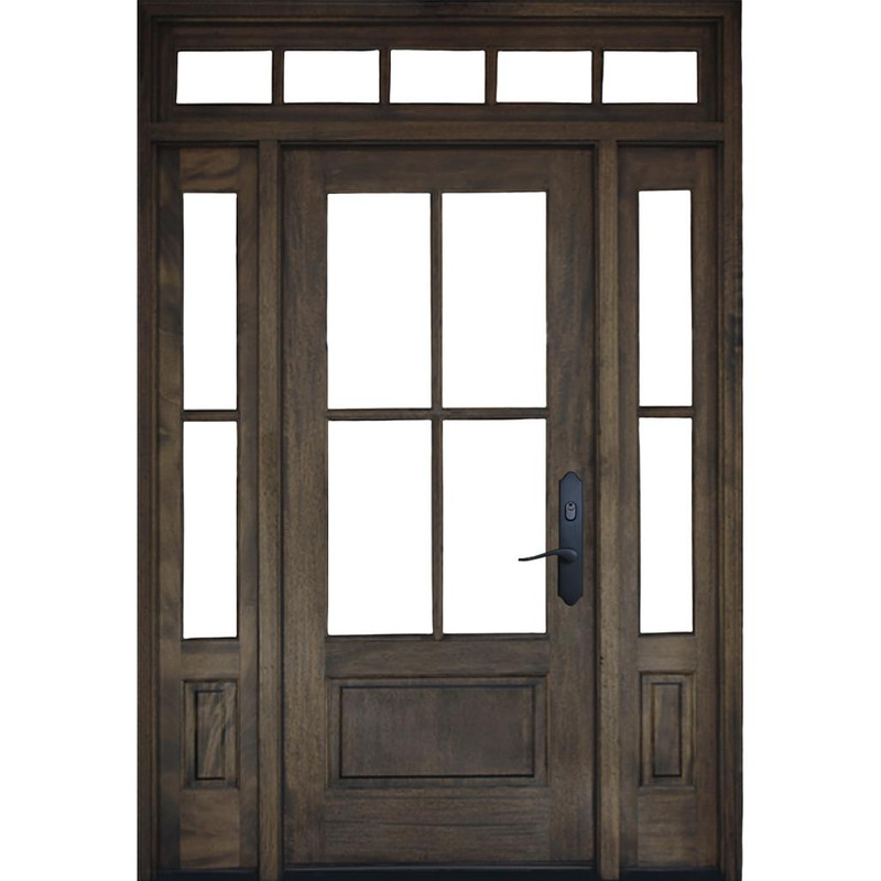 Grand Entry Doors Andalucia 4-Lite True Divided Lite Entry Door with Sidelites and Transom