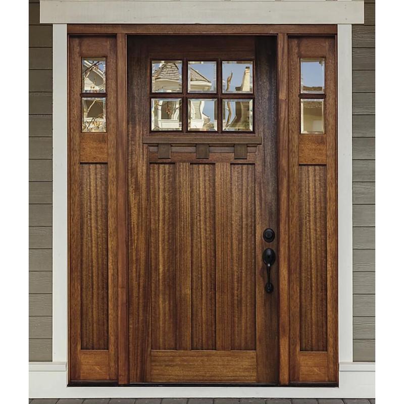 Grand Entry Doors Palermo Craftsman 6 Lite Mahogany Door with Sidelites