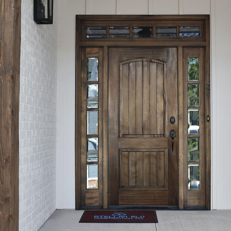 Grand Entry Doors Ventura Solid Panel Mahogany Entry Door with Sidelites and Transom