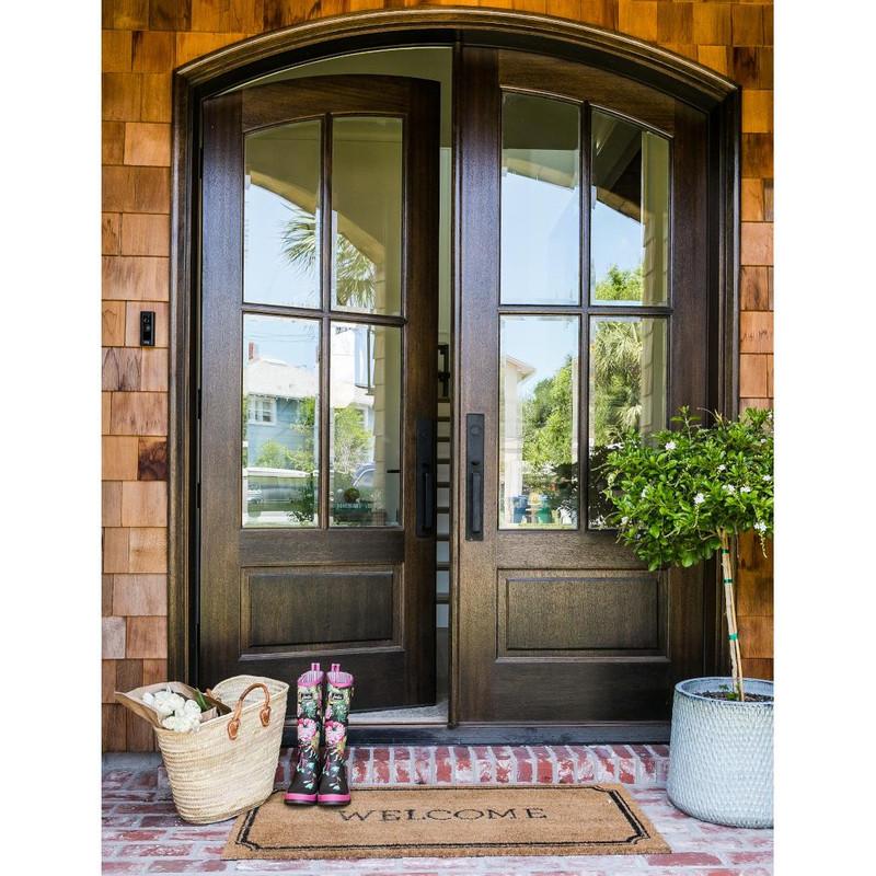 Grand Entry Doors Miranda 4 Lite Arch-Top Mahogany Double Entry Door