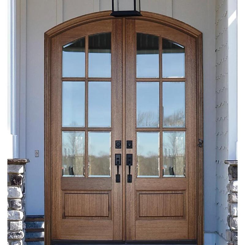 Grand Entry Doors Miranda 6 Lite Arch-Top Mahogany Double Entry Door