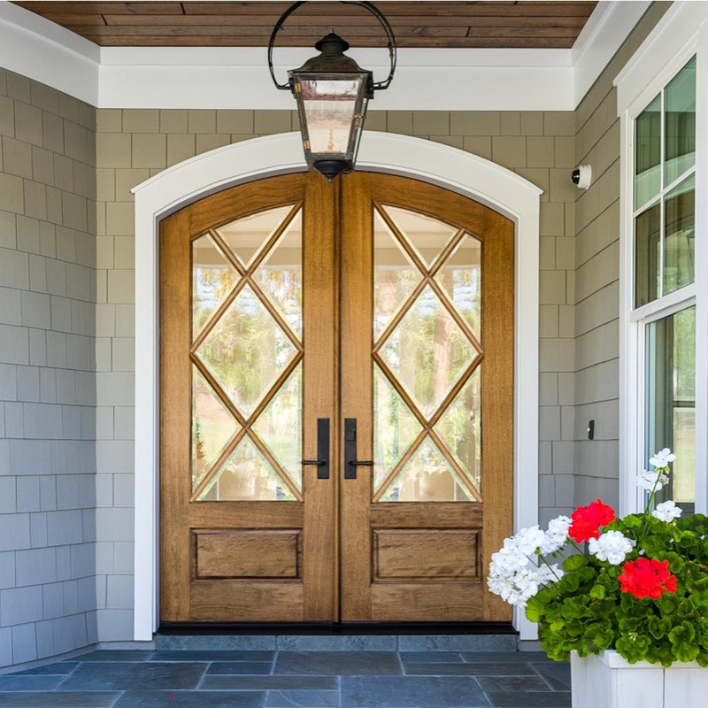 Grand Entry Doors Miranda 7 Lite Arch-Top Double Entry Door