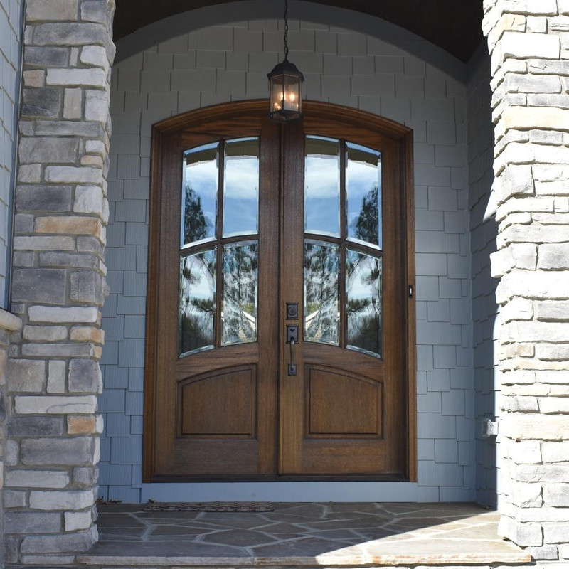 Grand Entry Doors Florencia 4 Lite True Divided Lite Arch-Top Mahogany Double Entry Door