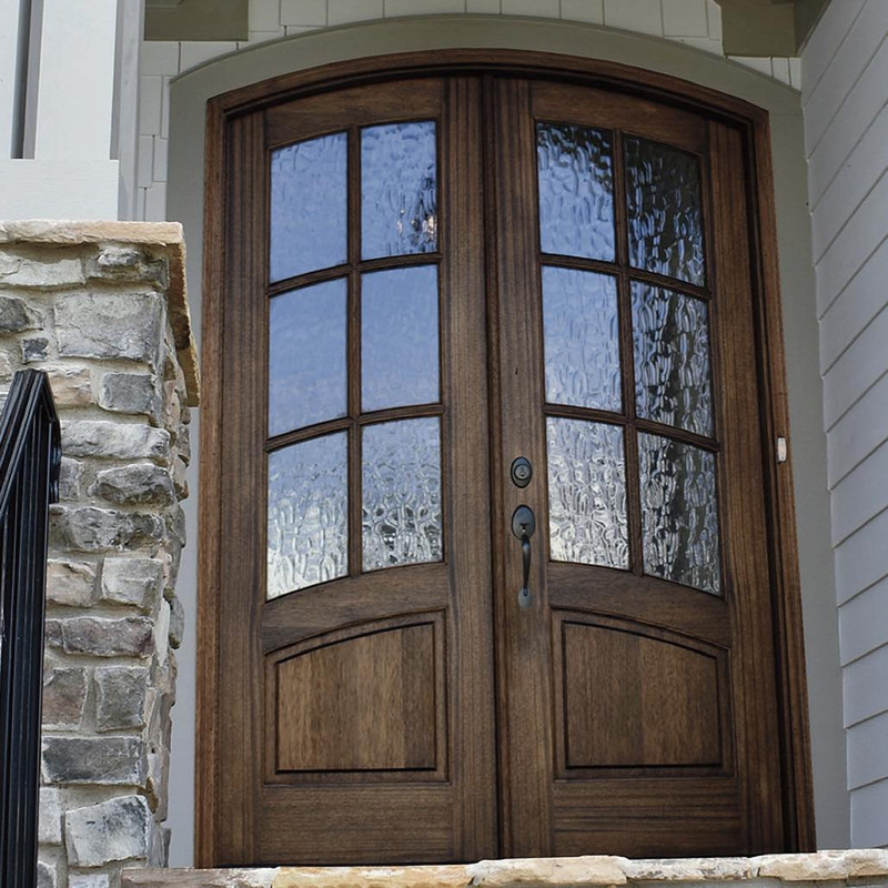 Grand Entry Doors Florencia 6 Lite True Divided Lite Arch-Top Mahogany Double Entry Door