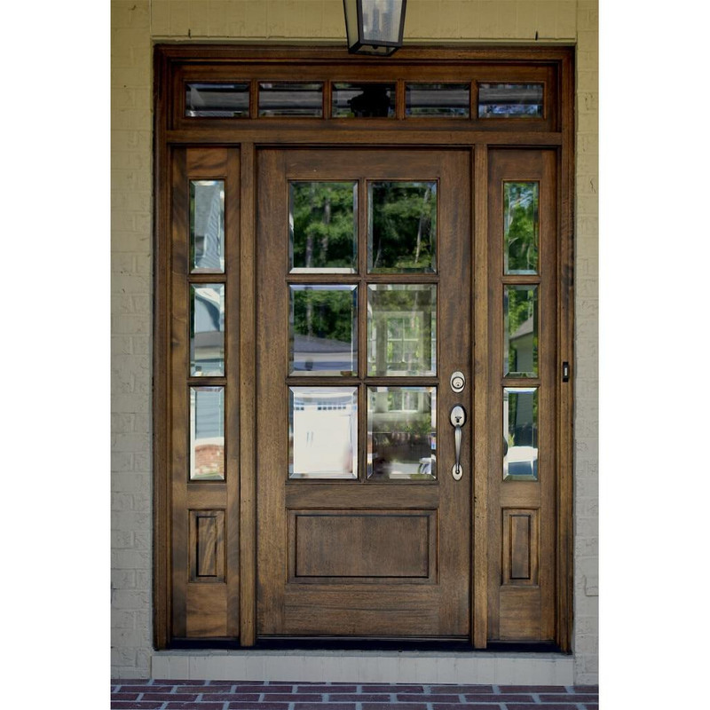 Grand Entry Doors Andalucia 6-Lite True Divided Lite Entry Door with Sidelites and Transom