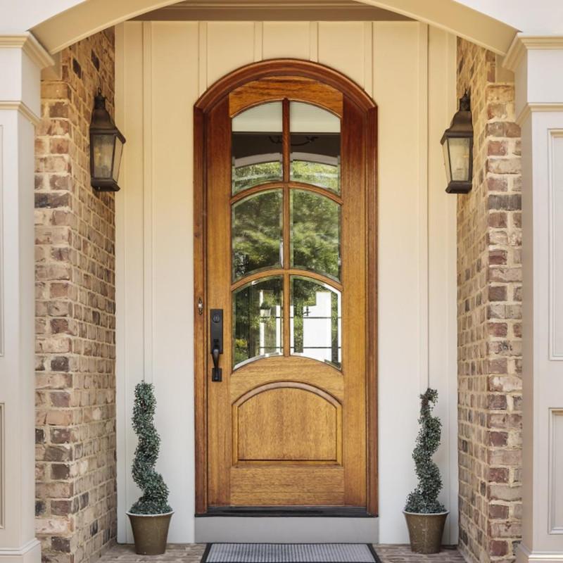 Grand Entry Doors Mahogany Florencia 6 Lite Arch-Top Single Entry Door