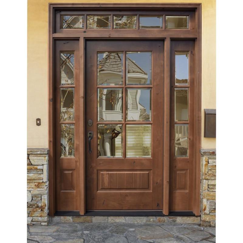 Grand Entry Doors Santa Fe Knotty Alder 6-Lite True Divided Lite Entry Door with Sidelites and Transom