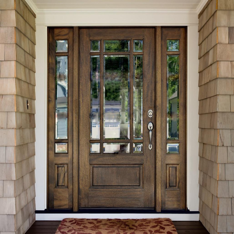 Grand Entry Doors Andalucia 9 Lite Prairie Style Entry Door with Sidelites