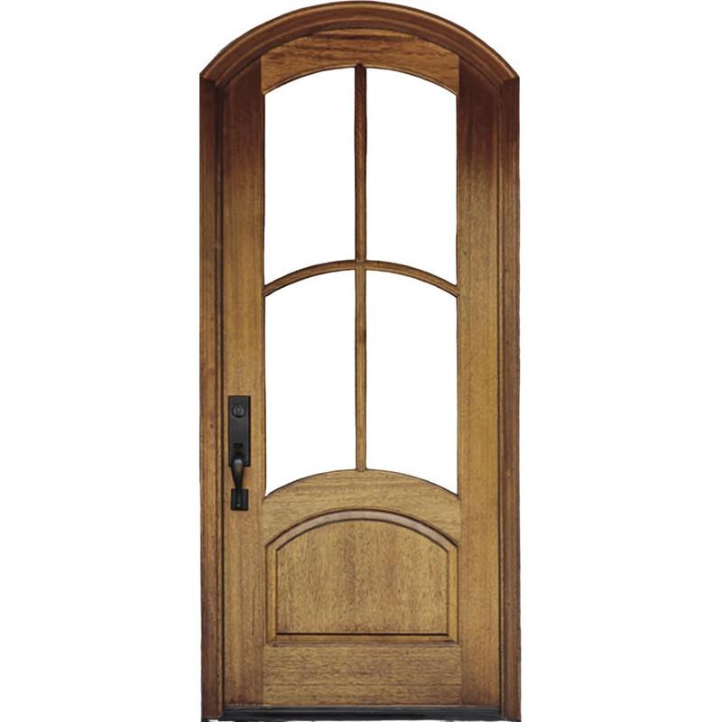 Grand Entry Doors Florencia 4 Lite Arch-Top Mahogany Single Entry Door